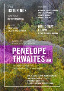 Canberra 17 September 2017 Concert of music by Penelope Thwaites