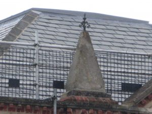 New church roof viewed from the road